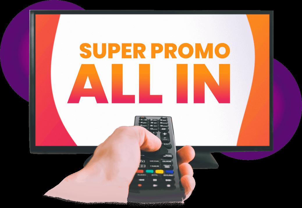 """Televisión y Control Remoto con texto """"Super Promo ALL IN"""" en la pantalla"""